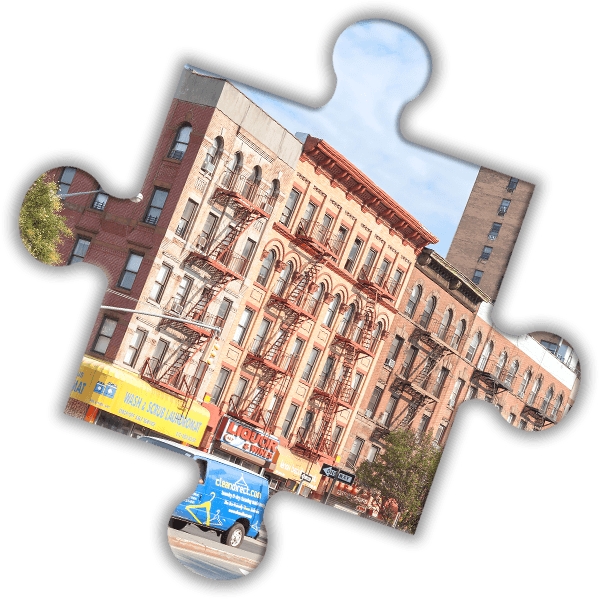 Puzzle piece of NYC apartment building