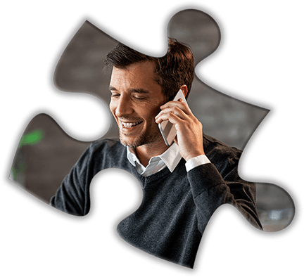 Puzzle piece of man on phone